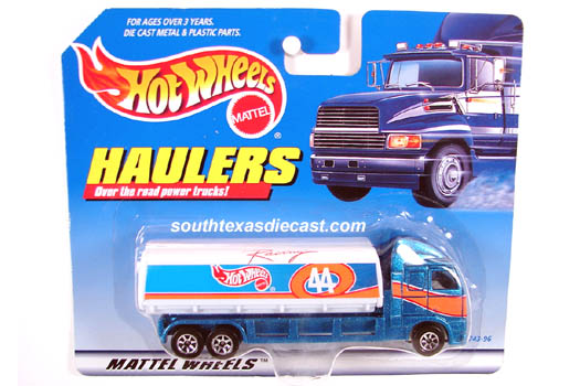 1999 hot wheels haulers mtflk blue w hot wheels 44 logo sticker w